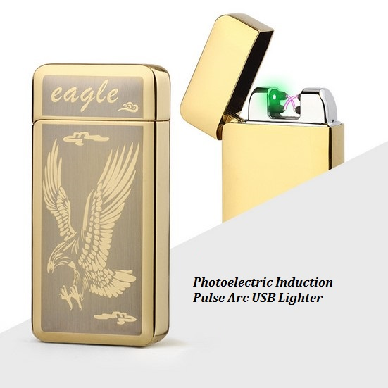Metal Photoelectric Induction Pulse Arc Lighter USB font b Electronic b font font b Cigarette b
