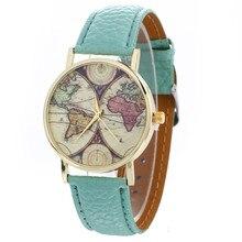 Women Watch Clock Neutral Map Pattern Fashion Leather Quartz Wrist Watch Reloj Mujer Leisurely Gigt Elegant Temperament M3