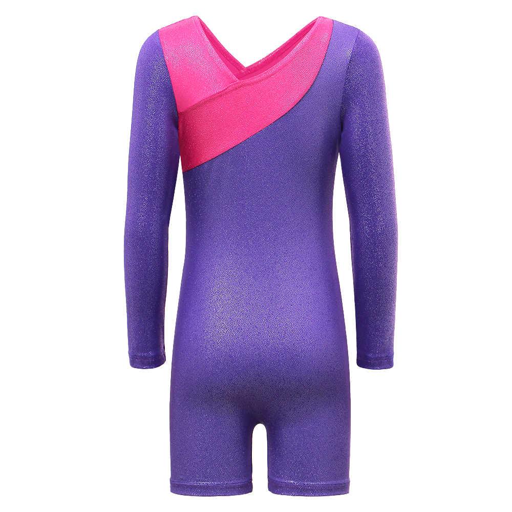 Kids Girl Ballet Dance Shiny Bodysuit Child Unitard Gymnastics Leotard 3-11Y