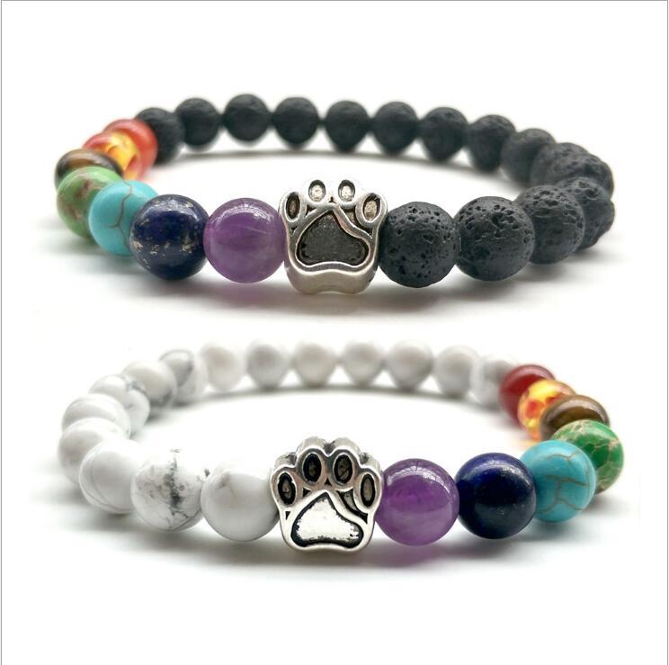 Silver Color Dog Paw Natural Seven Chakra Stone 8MM White/BlackLava Stone Beads Bracelets Energy Buddha Beads Yoga Jewelry Women
