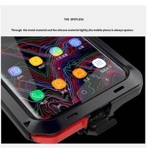 Image 4 - Ağır güçlü darbeye dayanıklı su geçirmez Metal alaşım temperli cam Metal kapak cep telefonu kılıfı için Samsung S9 S9 artı S10