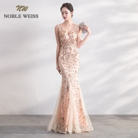 NOBLE WEISS Elegant V Neck Evening Dress Mermaid Prom Gowns Formal Evening Gown Sequin Prom Dress Free Shipping