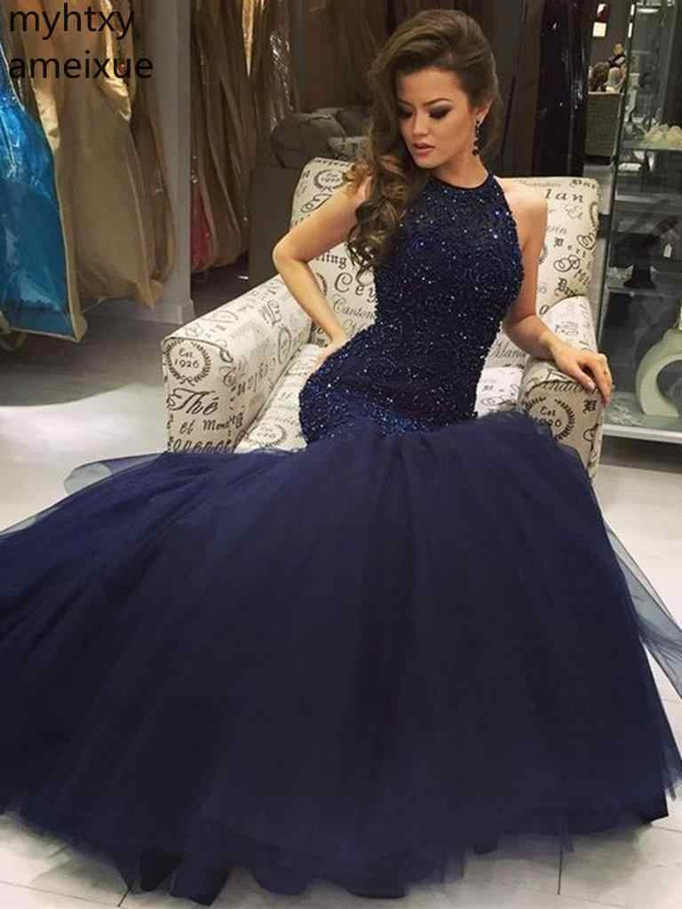 New Luxury Halter Beaded Tulle Mermaid Sapphire Blue Evening Dresses Party Long Prom Formal Gown Robe De Soiree Longue Plus Size
