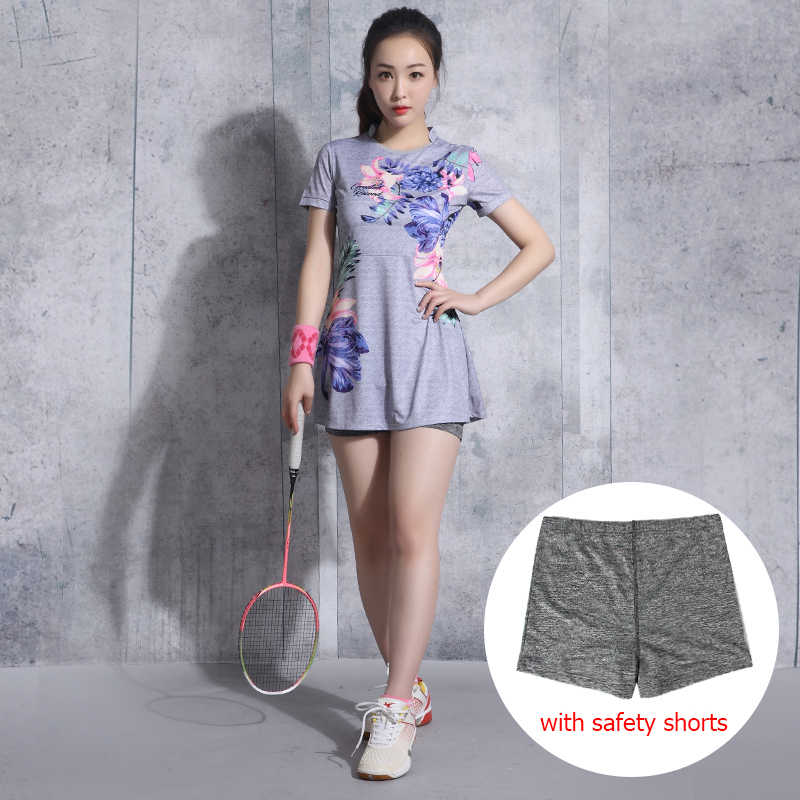 Badminton Wear Women's Dress Suit Short Sleeve Tennis Clothes Lady Outdoor Dress Stretch Fabric Sportswear Shorts Anti-light