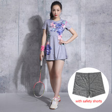 Badminton Wear Women's Dress Suit Short-sleeved Tennis Clothes Lady Outdoor Dress Stretch Fabric Sportswear Shorts Anti-light(China)