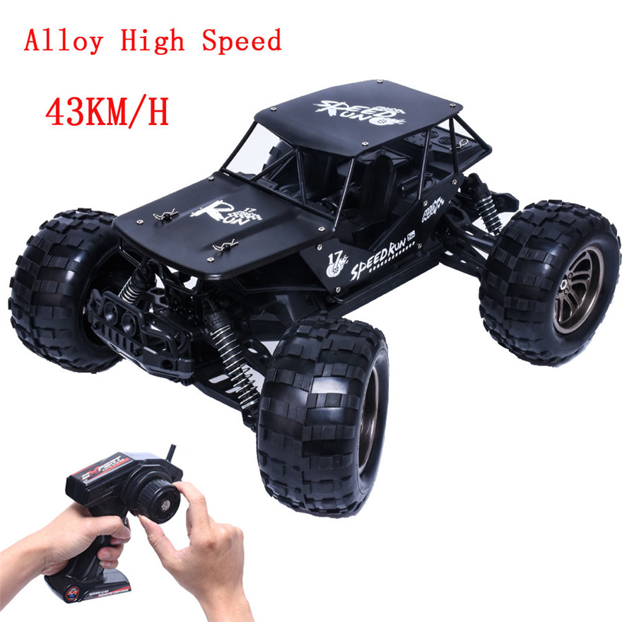 High Quality 1:12 2.4G 2WD Alloy High Speed RC Monster Truck Remote Control Off Road Car RTR Toy New Free Shipping huanqi 739 high speed rc cars 1 10 scale 2 4g 2wd 42km h rechargeable remote control short truck off road car rtr vehicle toy