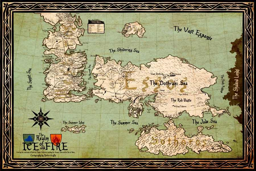 Custom Game of Thrones Wall Maps Wallpaper World Map Poster Stickers Realm  of Ice and Fire Wall Sticker Home Decor #PN#2428#
