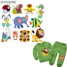 ZOTOONE Cute Animal Patches Iron on for Clothes Childrens T-shirt Dresses Elephant Lion Patch DIY Accessory Decoration