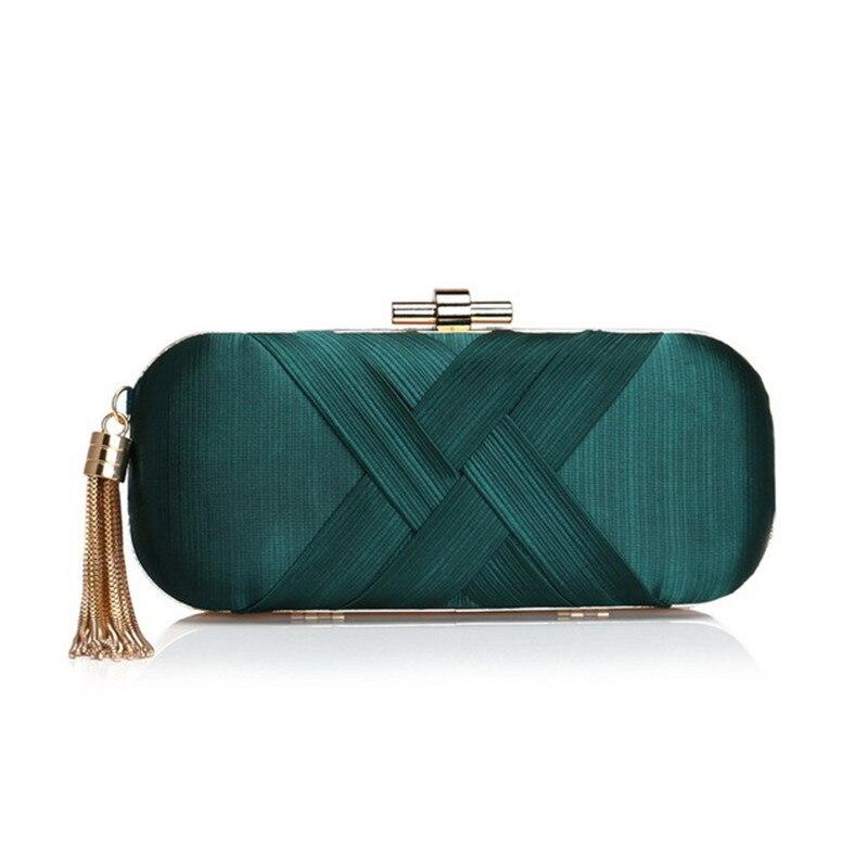 Vertrouwend Vintage Elegante Kwastje Clutch Bag Mode Zijde Dame Avondtasje Banket Schoudertas Vrouwen Handtas Donkergroen Bruiloft Portemonnee A3