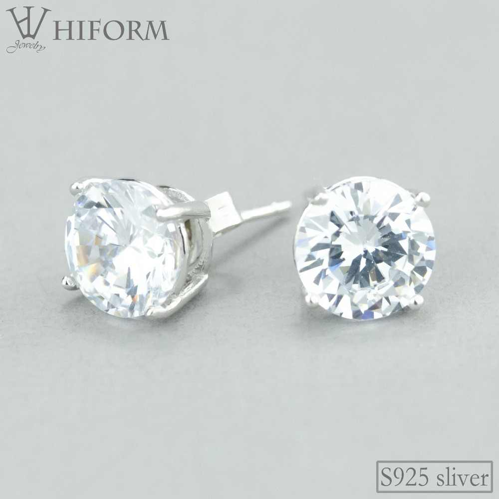 98e6fcd31c 925 Sterling Silver Big Crystal Round Stud Earrings For Women Wedding Gift  with AAA CZ Stone