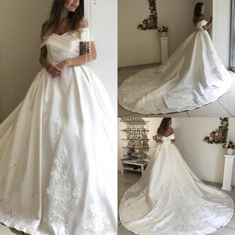Новые Модные свадебные платья с открытыми плечами, атласные кружевные Длинные свадебные платья, свадебные платья