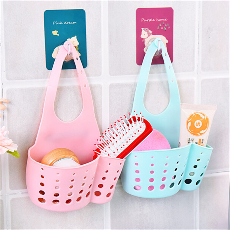 2 Pcs Plastic Bathroom Sink Storage Shelf Kitchen Portable Hanging Drain  Bag Basket Bath Storage Gadget Part 50