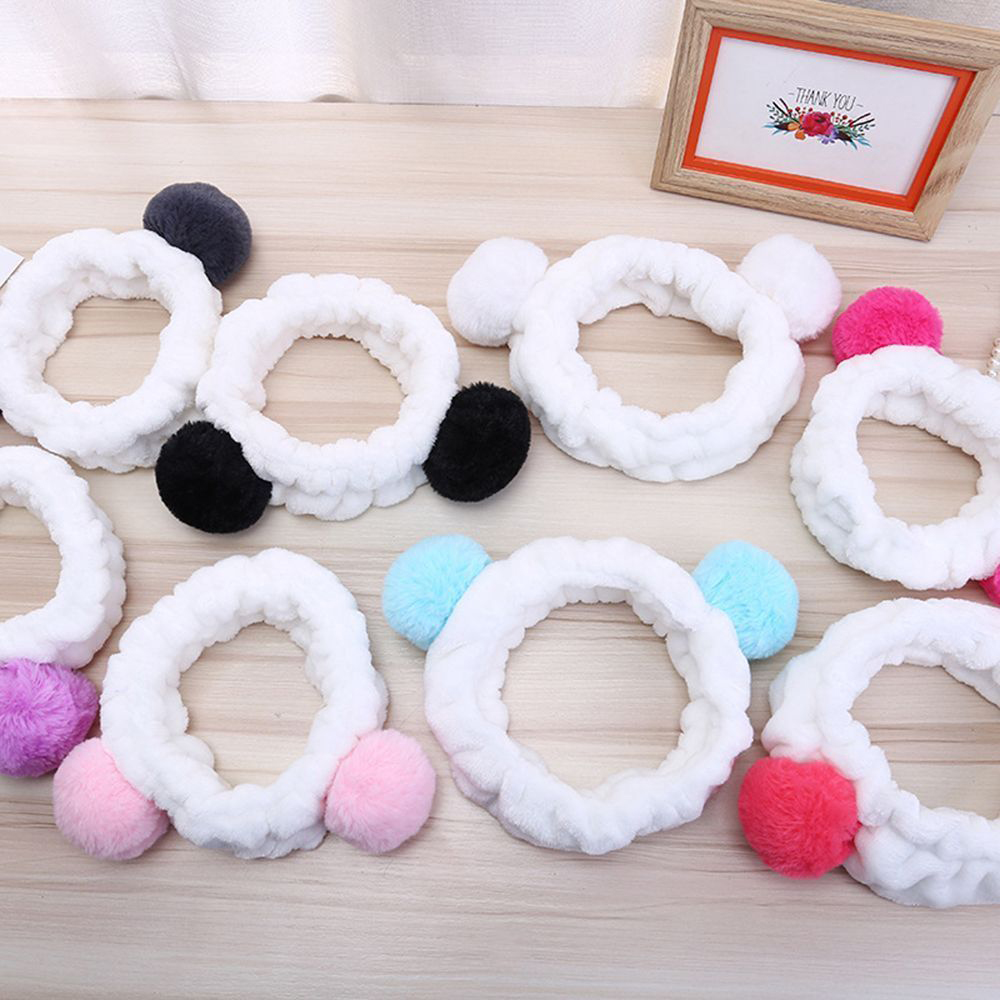 Beautiful Korean Kawaii Face Washing Headband Animal Ear Women High Elastic Soft Cute Fur Ball Bath Spa Make Up Girls Headwear Accessories For Improving Blood Circulation