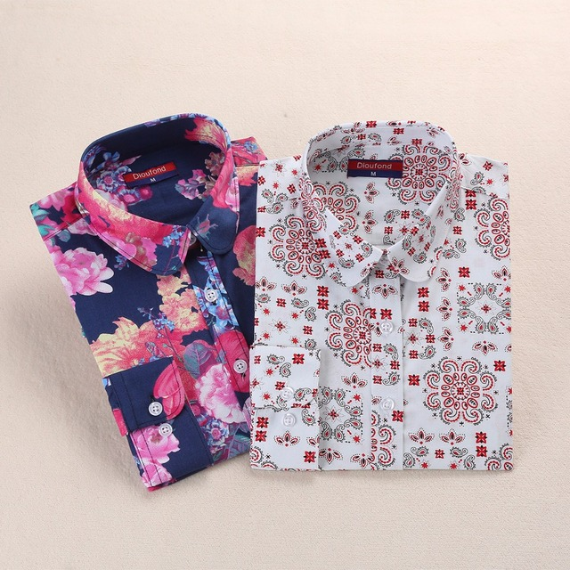 Long Sleeve Printed Flowers Blouses Women Plus Size Cotton Tops