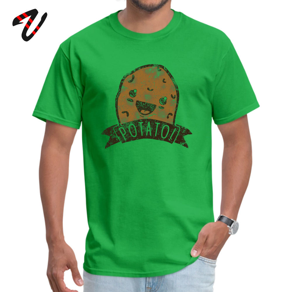 POTATO comfortable T-shirts for Men All Cotton Thanksgiving Day Tops Shirt Print Tee-Shirts Short Sleeve 2019 Discount O-Neck POTATO 557 green