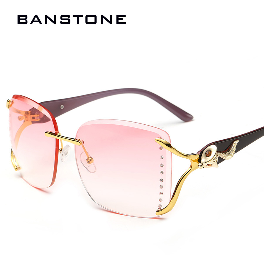 085bc2f0caf2d BANSTONE Women Crystal cutting Rimless Sunglasses Women Sun Glasses Female  OCULOS de sol