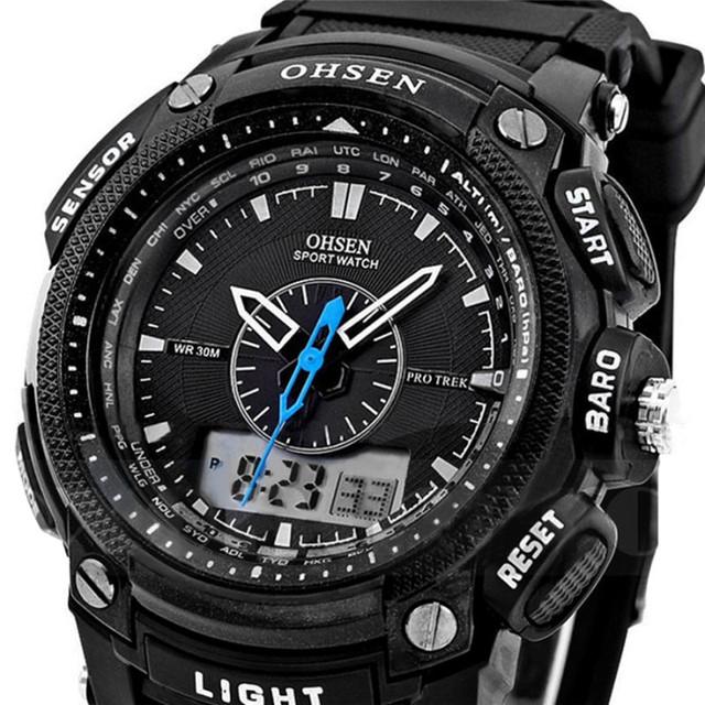 Homens relógio ohsen digital led esporte militar relógios relógios de pulso de borracha à prova d' água dia alarme homens moda assista relogio masculino