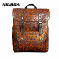High Quality Women Embossed Backpack 100% Genuine Leather Teenager School Bag Vintage Natural Bag National Travel Laptop Bags