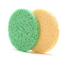 4 szt. Naturalne włókno drewniane 8cm mycie twarzy gąbka do czyszczenia uroda narzędzia do makijażu akcesoria okrągły kolor losowo
