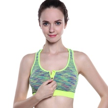 Front zipper sports bra yoga without steel ring shockproof and quick-drying runn