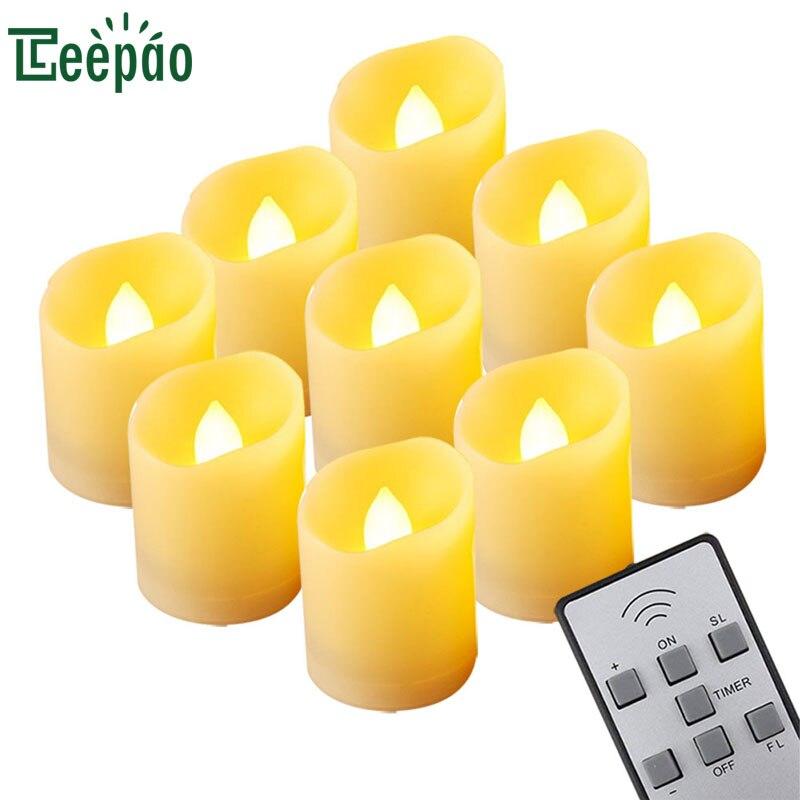 9 stücke LED kerze licht remote gesteuert Flackern Tee Licht Timing Elektronik Kerze Lampe für wachsfreien Bar Hochzeit Dekoration