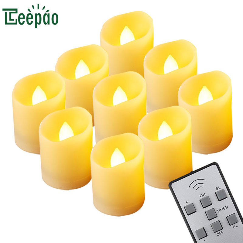 9Pcs LED candle light remote controlled Flickering Tea Light Timing Electronics Candle Lamp for waxless Bar Wedding Decoration 9pcs girl cartoon birthday candle
