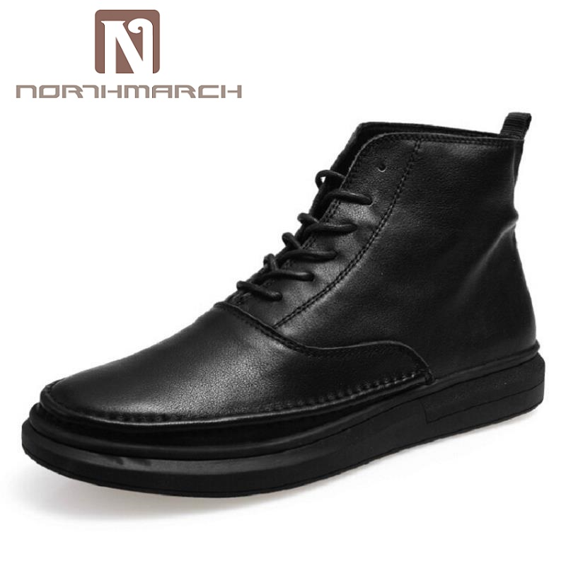 NORTHMARCH 2018 New Autumn Winter British Men Casual Shoes Men High Tops Fashion Brand Black Leather Shoes Schuhe Herren 2017 new autumn winter men leather shoes casual all match british tide fashion shoes breathable sneaker shoes