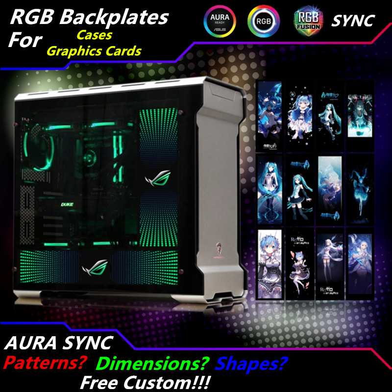 Customized PC Case Side Panel GPU Backplane RGB Faith Light  Colorful /RGB /D-RGB AURA Streamer Backplate For Case/Graphics Card