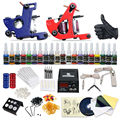 Complete Tattoo Kit 2 machine Gun 20 Color Inks Power Supply DIY-423
