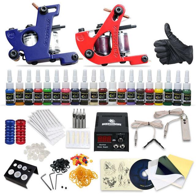 Kit de Tatuaje completo 2 machine Gun 20 Tintas de Color fuente de Alimentación DIY-423