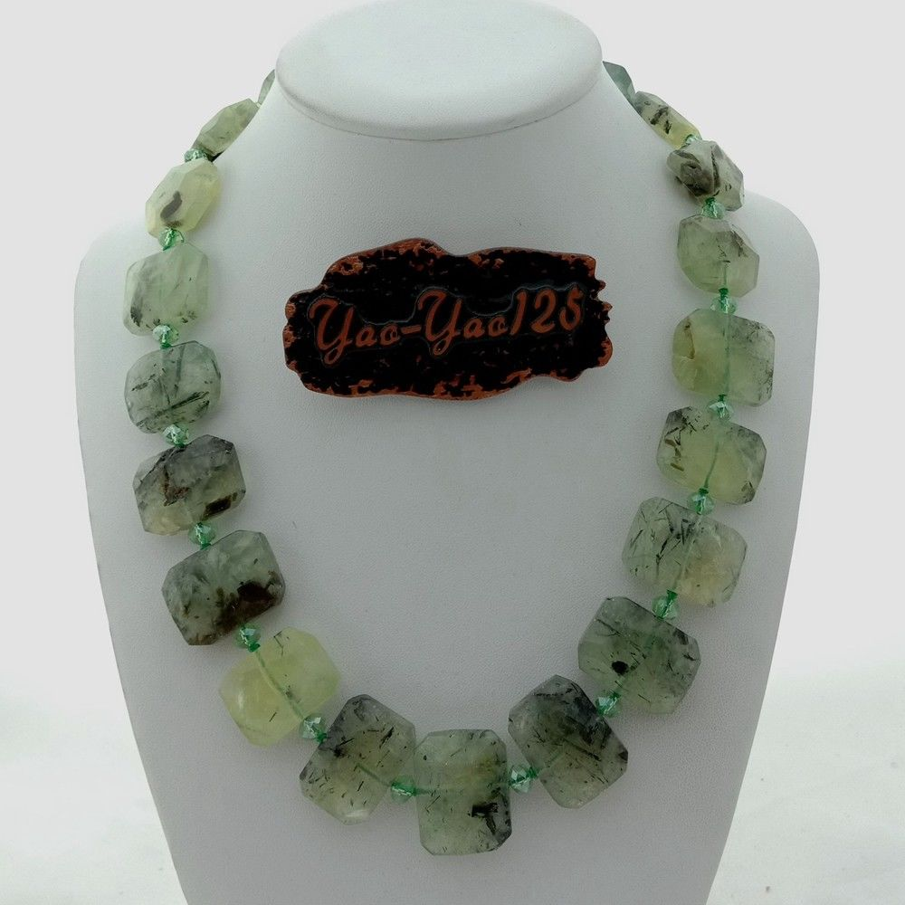 """19\"""" Natural Faceted Green..."""