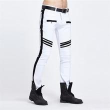 Личность 2016 Узкие джинсы для мужчин Белый/Черный лоскутная Рваные джинсы Мода Повседневная Slim fit Байкер джинсы Хип-хоп джинсовые брюки