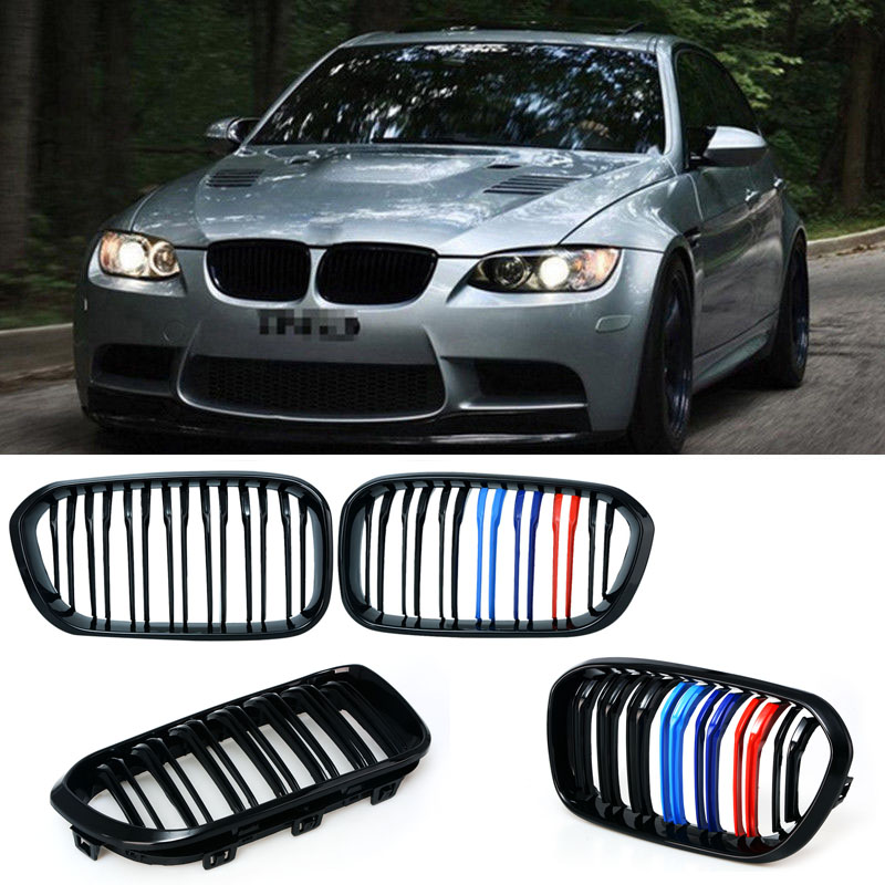 1 Pair Car Styling Black M 3 Double Slat Front Kidney Grille Racing Grill For BMW F20 LCI 1 Series 114i 116i 118i 120i 125i P8 car bight glossy black double slat front grille grill for bmw e92 lci facelift e93 2011 2012 2013 c 5