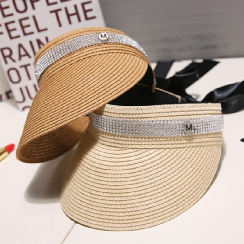 Spring Summer Autumn New Big Wide Brim Straw Sun Visors hat Women//GILR Fashion Empty Top Caps