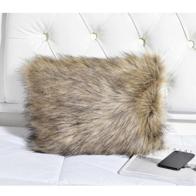 White Fluffy Faux Fur Long Couch Pillows Designer Lumbar Throw