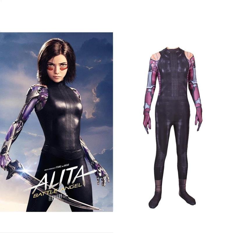 2019 New Movie Alita: Battle Angel Cosplay Costume Women Girl Alita Zentai Lycra Spandex Exquisite Jumpsuit Bodysuit Suits Anime