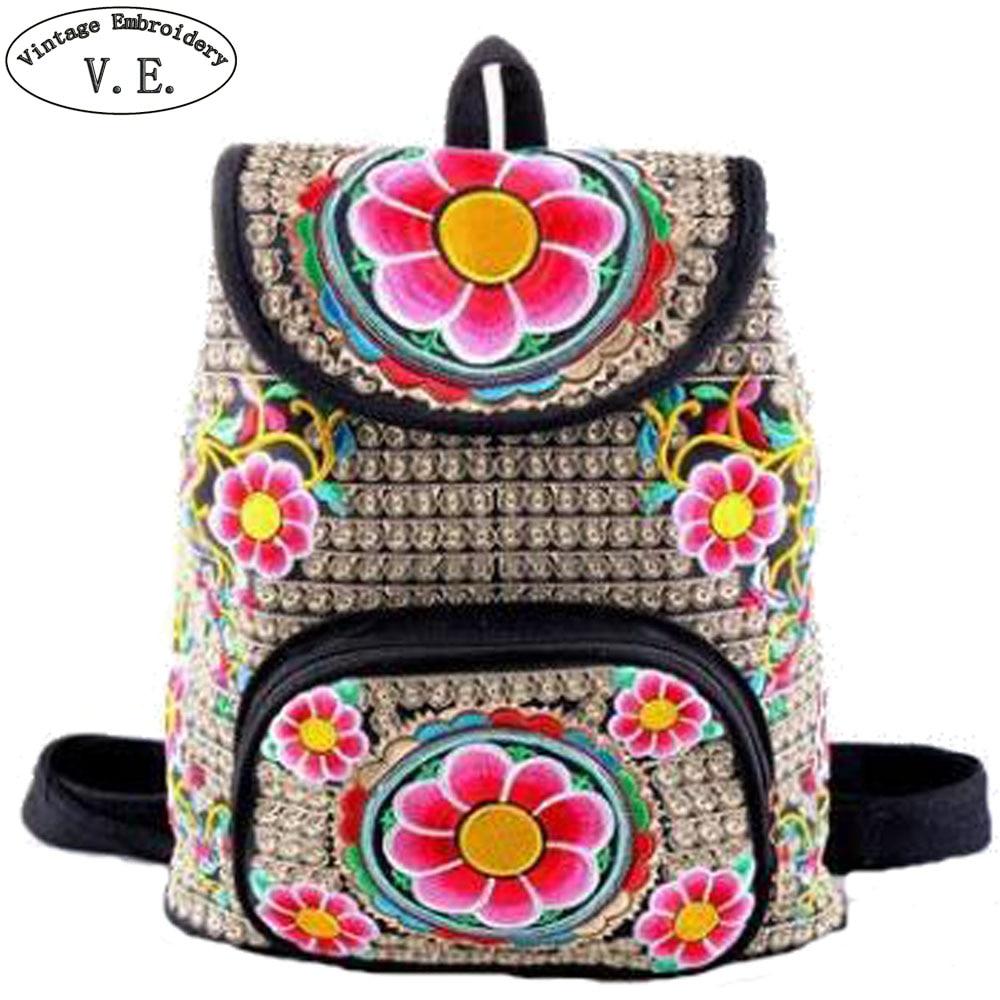 Vintage Women Backpack Ethnic Canvas Embroidery Rucksack Handmade Boho Thailand Shoulder Bag Travel Schoolbag Sac a Dos Femme