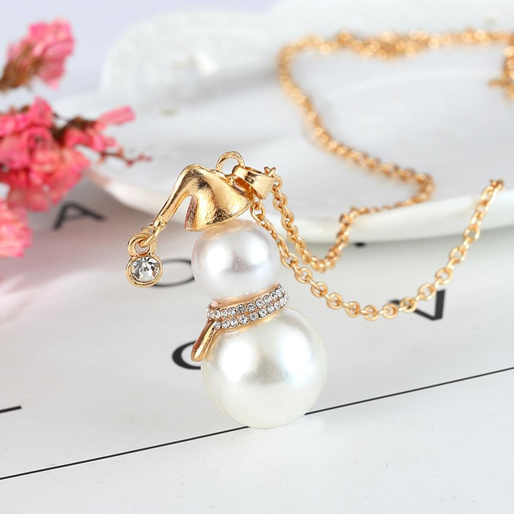 None Women Long Clasp Imitation etc Rhinestone Pearl Claw Snowman Pendant Party Necklaces Pearl Lobster Jewelry Casual Sweater