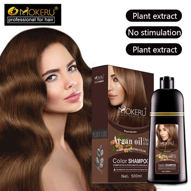 Mokeru Natural Brown Color Permanent Hair Colour Shampoo Long Lasting Hair Dye Shampoo For women professional hair dye 5