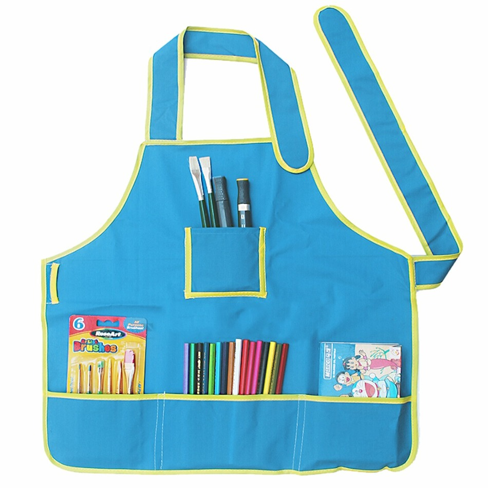 New Cute Kids Child Children Waterproof Apron Solid Printed Painting ...
