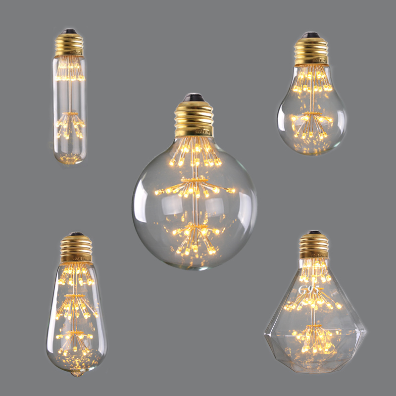 Quality In 3w 2200k,vintage Led Light Bulb,fireworks Starry,decorative For Pendant Lamp,dimmable Superior T30 A19 St58 G95 G125 Diamond