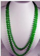 Women jewelry choker anime gem chocker maxi collier Stunning 8mm natural green jade beads Necklace
