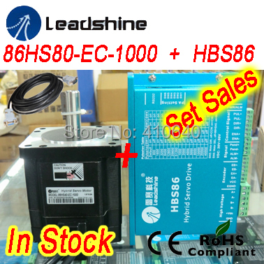 Set sales Leadshine Hybrid Servo Motor 86HS80-EC8.0 NM NEMA 34 and HBS86 drive 24-70 VDC input and encoder extension cable set sales genuine leadshine blm57180 square flange servo motor and acs606 servo drive and encoder cable and rs232 tuning cable