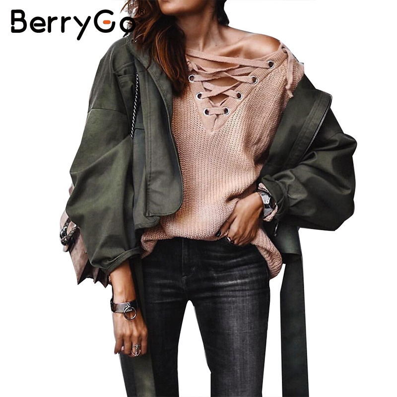 BerryGo Fashion Sash Basic Jacket Coat Outerwear Coats Casual Motorcycle Jacket Female Coat 2017 Autumn Winter