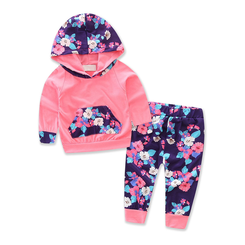 baby girl clothes newborn Infant Floral Splice Hoodie Tops+Pants Outfits Clothes Set roupa infantil @7829