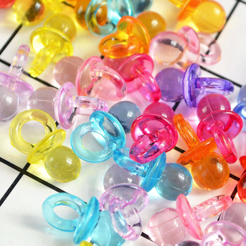 50 stuks Nieuwe Leuke Fopspenen Roze Blauw Transparant Mini Fopspenen voor Jongen Meisje Baby Shower Party Favor Cake Decoratie DIY levert 1