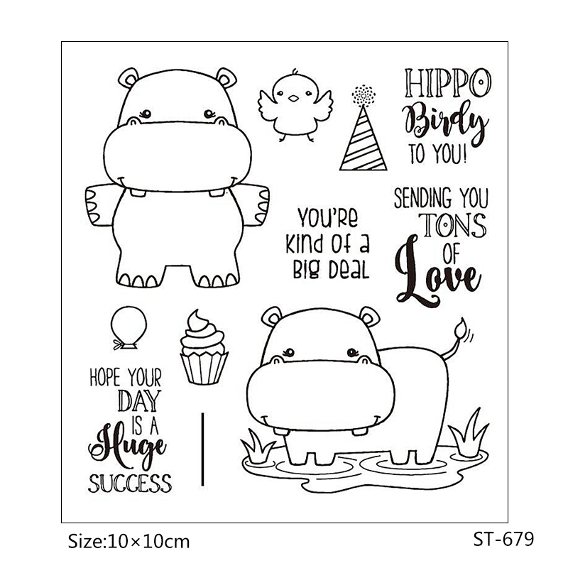 ZhuoAng Cute hippo Transparent and Clear Stamp DIY Scrapbooking Album Card Making Decoration