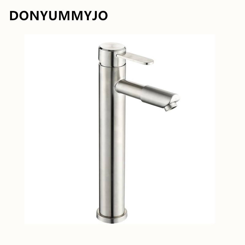 304 Stainless Steel Turn Bathroom Basin Faucet Sink Basin Wash Tap Hot And Cold Single Hole Height Increase Faucet wall of the cold and hot water tap copper concealed washbasin single hole basin faucet stainless steel waterfall faucet lt 304 4