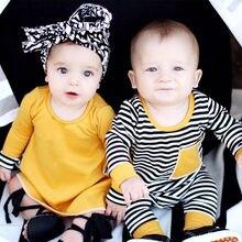 Newborn Infant Twin Baby Matching Striped Bodysuit Dresses