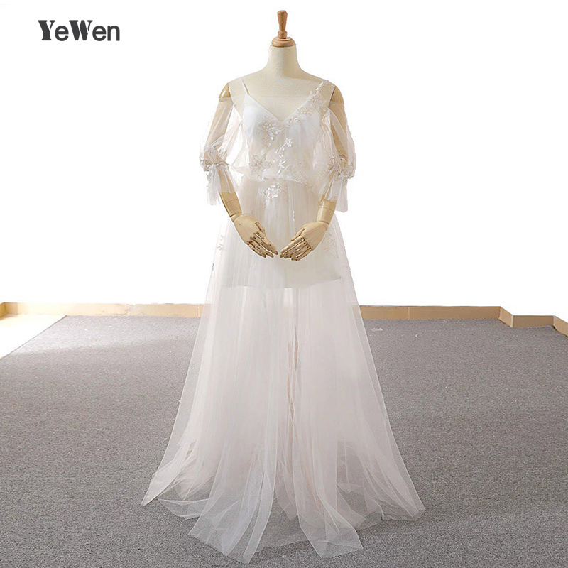 YeWen Backless Short Cap Sleeve Bohemian Wedding Dresses 2018 Plus Size Custom-Made A-Line Vestido De Noiva Wedding Dress